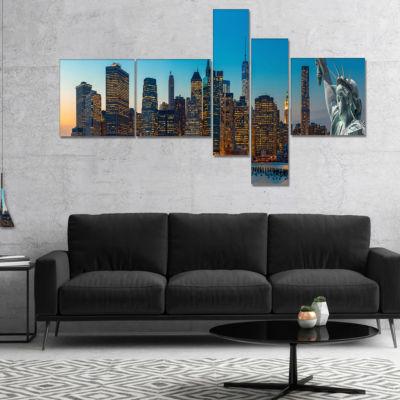 Designart Evening New York City Skyline PanoramaMultipanel Extra Large Canvas Art Print - 5 Panels