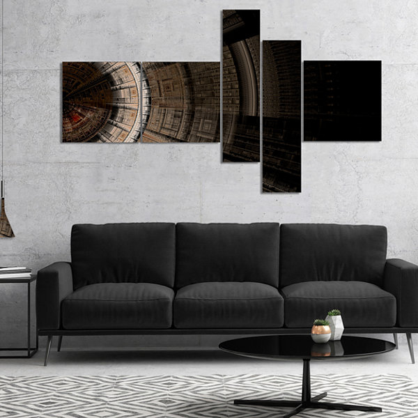 Designart Symmetrical Solar Blue Fractal Art Multipanel Abstract Print On Canvas - 5 Panels