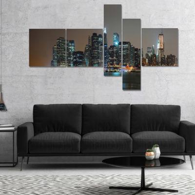 Designart Evening New York Panorama Multipanel Cityscape Canvas Art Print - 5 Panels