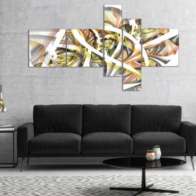Designart Symmetrical Spiral Fractal Flowers Multipanel Contemporary Print On Canvas - 5 Panels