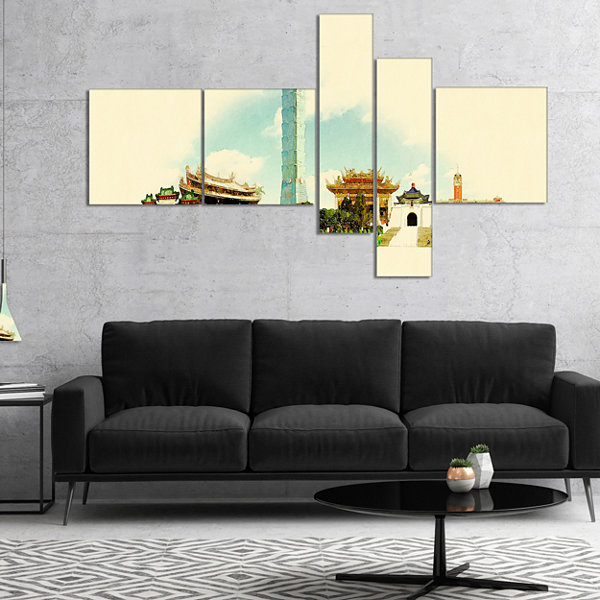 Designart Taipei Panoramic View Multipanel Cityscape Watercolor Canvas Print - 4 Panels