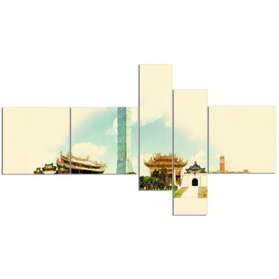 Designart Taipei Panoramic View Multipanel Cityscape Watercolor Canvas Print - 5 Panels