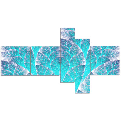Design Art Exotic Blue Biological Organism Multipanel Abstract Art On Canvas - 5 Panels
