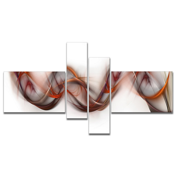 Designart Tangled Brown Silver Waves Multipanel Abstract Canvas Art Print - 4 Panels