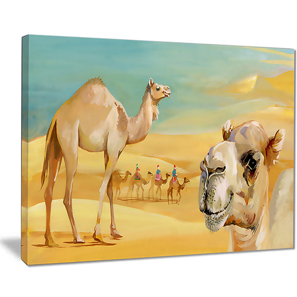 Designart Wandering Camels In Desert Watercolor Animal Canvas Print
