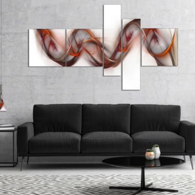 Designart Tangled Brown Silver Waves Multipanel Abstract Canvas Art Print - 5 Panels