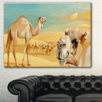 Designart Wandering Camels In Desert Watercolor Animal Canvas Print - 3 Panels