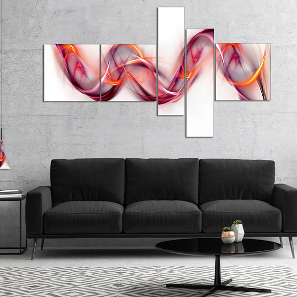 Designart Tangled Pink Gold Waves Multipanel Abstract Canvas Art Print - 5 Panels