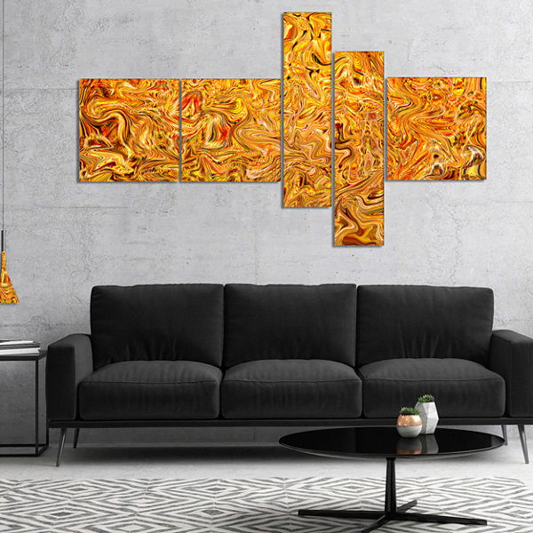 Designart Textured Flowing Yellow Multipanel Abstract Canvas Art Print - 4 Panels