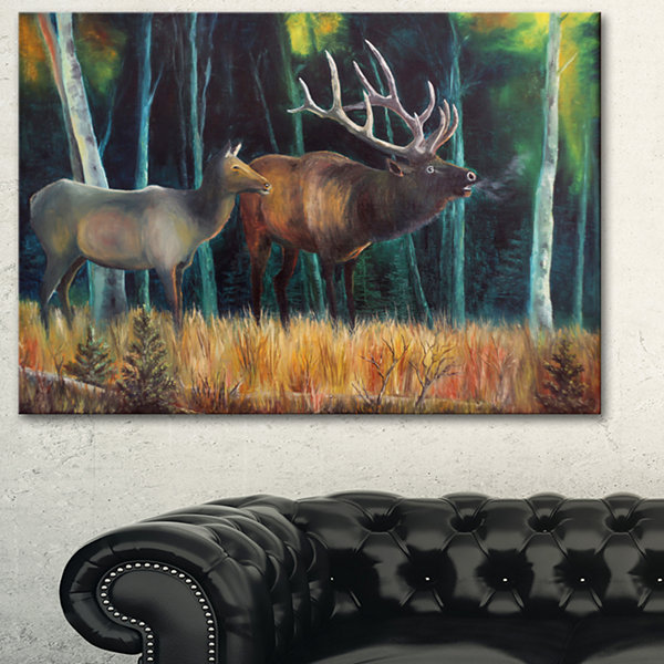 Designart Wandering Deer In Forest Animal Art OnCanvas