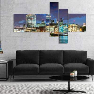 Designart Thames River At Night Multipanel Cityscape Photography Canvas Print - 4 Panels
