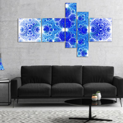 Design Art Exotic Blue Fractal Crescent Pattern Multipanel Abstract Art On Canvas - 5 Panels