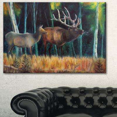 Designart Wandering Deer In Forest Animal Art OnCanvas - 3 Panels