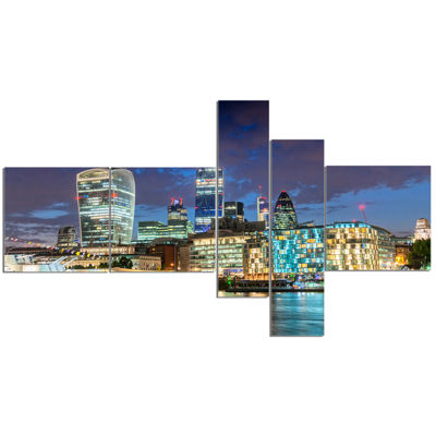 Designart Thames River At Night Multipanel Cityscape Photography Canvas Print - 5 Panels