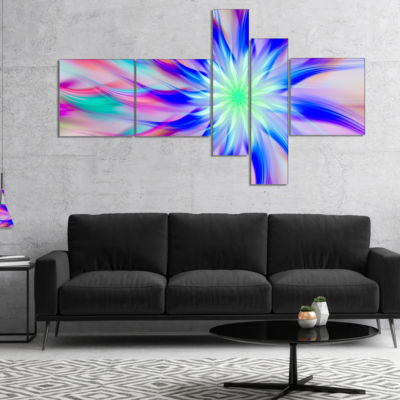 Designart Exotic Blue Fractal Spiral Flower Multipanel Abstract Canvas Art Print - 5 Panels