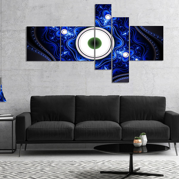 Designart Exotic Blue Pattern With Circles Multipanel Abstract Canvas Art Print - 5 Panels