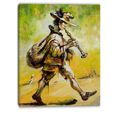 Designart Wandering Troubadour With Pipe Music Canvas Art Print