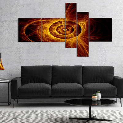 Designart The Flashing Yellow Flame Multipanel Abstract Print On Canvas - 5 Panels