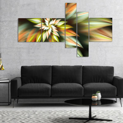Designart Exotic Brown Fractal Spiral Flower Multipanel Abstract Canvas Art Print - 4 Panels