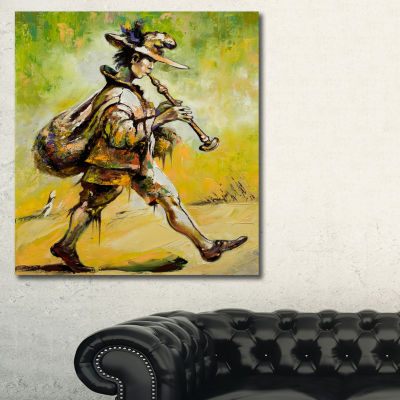 Designart Wandering Troubadour With Pipe Music Canvas Art Print - 3 Panels