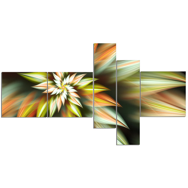 Designart Exotic Brown Fractal Spiral Flower Multipanel Abstract Canvas Art Print - 5 Panels