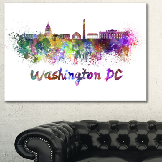 Designart Washington Dc Skyline Cityscape Canvas Artwork Print