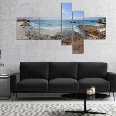 Designart The Rocks And Beach Panorama MultipanelSeashore Canvas Art Print - 5 Panels