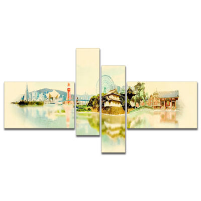 Designart Tokyo Panoramic View Multipanel Cityscape Watercolor Canvas Print - 4 Panels