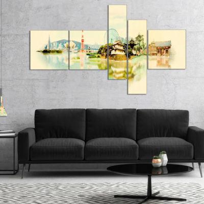 Designart Tokyo Panoramic View Multipanel Cityscape Watercolor Canvas Print - 5 Panels