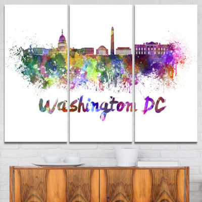 Designart Washington Dc Skyline Cityscape Canvas Artwork Print - 3 Panels
