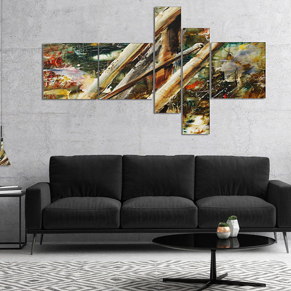 Designart Tools And Abstract Pattern Multipanel Abstract Canvas Artwork - 5 Panels