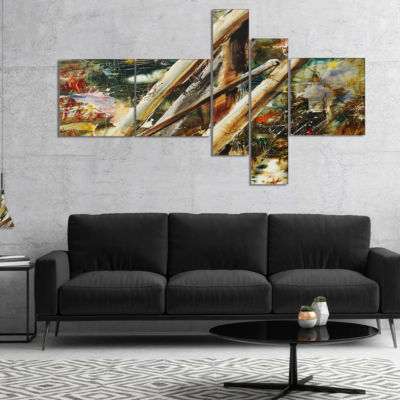 Designart Tools And Abstract Pattern Multipanel Large Abstract Canvas Artwork - 4 Panels