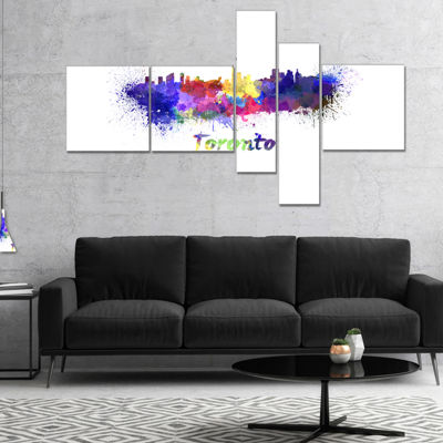 Designart Toronto Skyline Multipanel Cityscape Canvas Art Print - 5 Panels