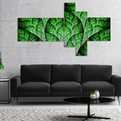 Designart Exotic Green Biological Organism Multipanel Abstract Art On Canvas - 4 Panels