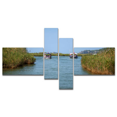 Designart Touristic River Boats Multipanel Landscape Photography Canvas Art Print - 4 Panels