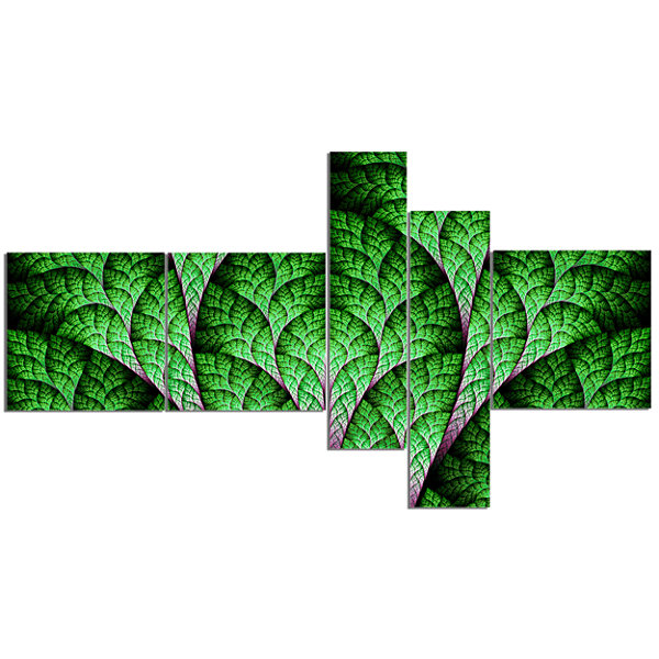 Designart Exotic Green Biological Organism Multipanel Abstract Art On Canvas - 5 Panels