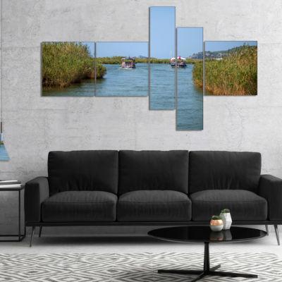Designart Touristic River Boats Multipanel Landscape Photography Canvas Art Print - 5 Panels