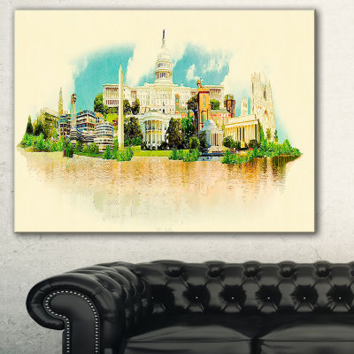 Designart Washington Panoramic View Cityscape Watercolor Canvas Print - 3 Panels
