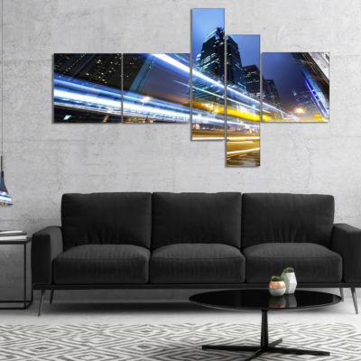 Designart Traffic In Hong Kong At Night MultipanelCityscape Canvas Art Print - 4 Panels