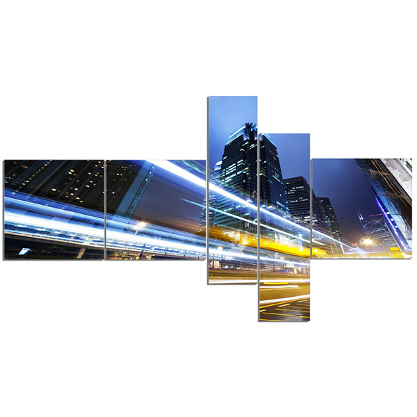 Designart Traffic In Hong Kong At Night MultipanelCityscape Canvas Art Print - 5 Panels
