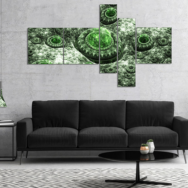 Designart Exotic Green Fractal Landscape Multipanel Abstract Wall Art Canvas - 4 Panels