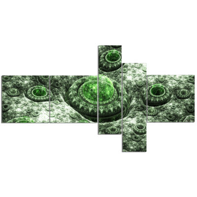 Designart Exotic Green Fractal Landscape Multipanel Abstract Wall Art Canvas - 5 Panels