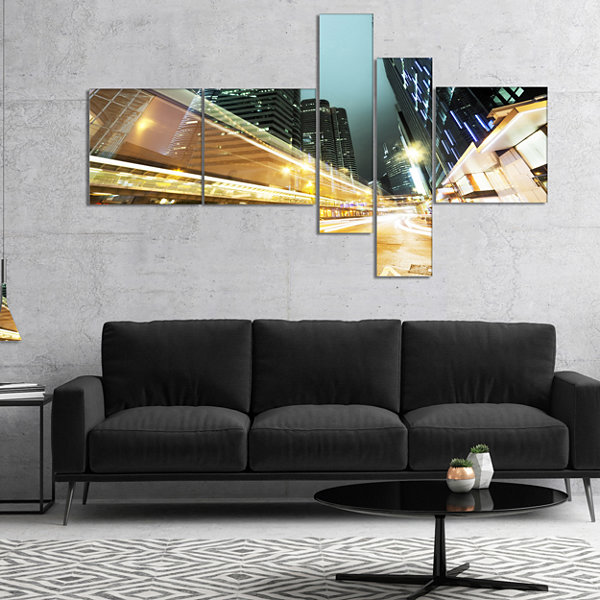Designart Traffic In Hong Kong At Night MultipanelCityscape Canvas Print - 5 Panels