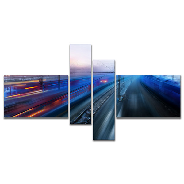 Designart Train Movements At Twilight Multipanel Landscape Photography Canvas Print - 4 Panels