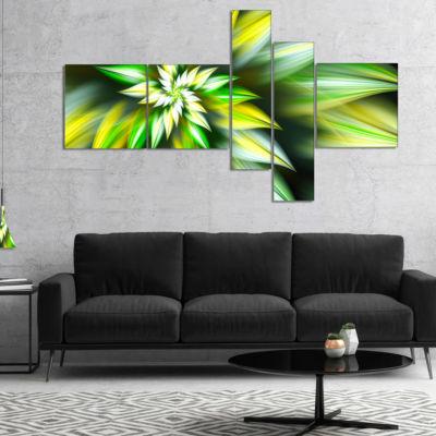Designart Exotic Green Fractal Spiral Flower Multipanel Abstract Canvas Art Print - 5 Panels