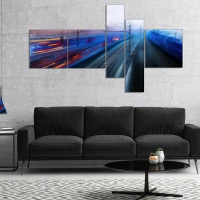 Designart Train Movements At Twilight Multipanel Landscape Photography Canvas Print - 5 Panels
