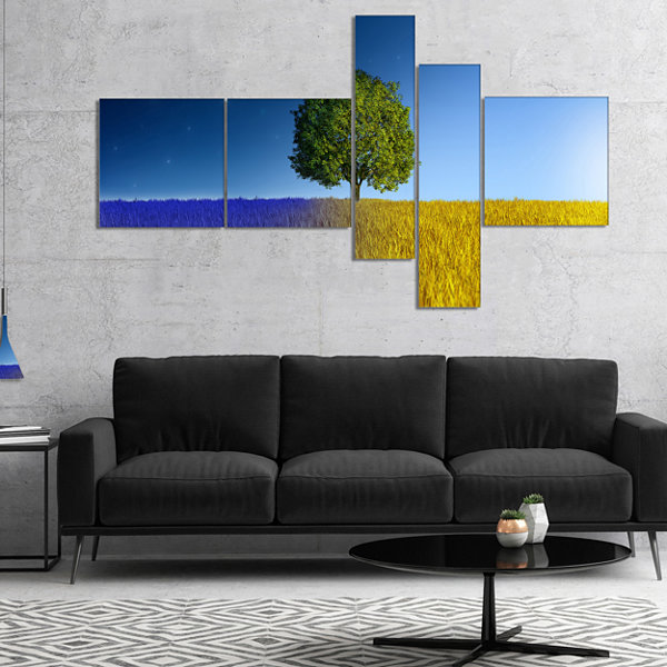 Designart Tree In Night And Day Multipanel Landscape Canvas Art Print - 5 Panels