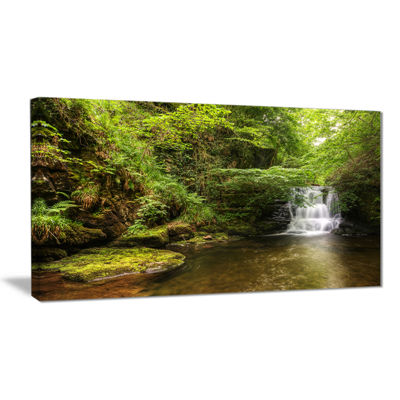 Designart Water Flowing Over Rocks Landscape Photography Canvas Print