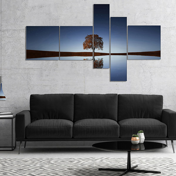 Designart Tree Near Lake At Night Multipanel Landscape Photography Canvas Art Print - 5 Panels