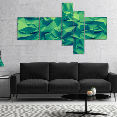 Designart Trendy Emerald Green Background Multipanel Abstract Canvas Art Print - 4 Panels